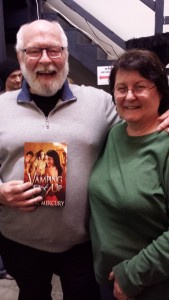 Bob and Phyllis Stoner's new purchase. Bob wasn't the least bit embarrassed holding Linda's book.