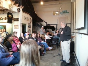 A good crowd, some book fans and plenty of brew friends, packed the  brew pub.
